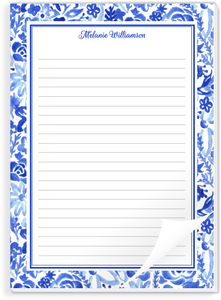 Blue Watercolor Floral Custom Notepad