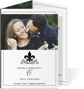 Black and White Fleur De Lis Wedding Program