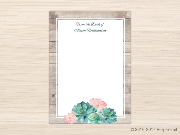 Rustic Succulent Watercolor Letter Writing Paper