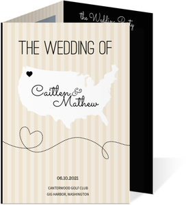 Cream And Black United States Map  Wedding Program