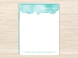 Simple Aqua Watercolor Letter Writing Paper