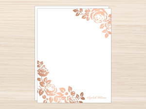 Rose Gold Faux Foil Floral Letter Writing Paper