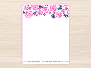 Elegant Pink Watercolor Roses Letter Writing Paper