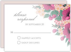 Blush Pink Anemones Wedding Response Card