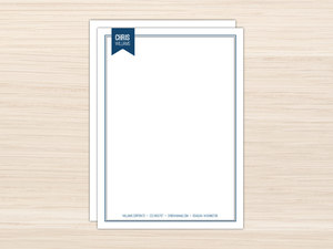 Simple Navy Blue Frame Letter Writing Paper