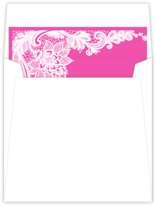 Pink And White Intricate Lace Sweet 16 Envelope Liner