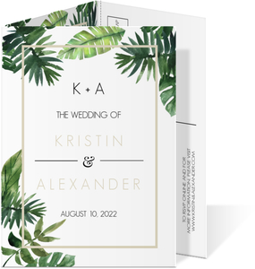 Tropical Green Leaves Trifold Wedding Invitation