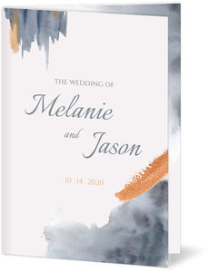 Modern Grey Watercolor Wedding Program