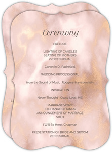 Elegant Blush and Gold Marble Wedding Program