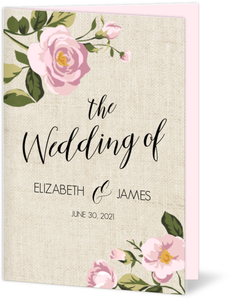 Vintage Burlap Floral Wedding Program