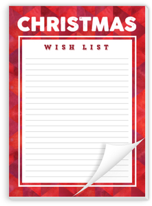 Red Pattern Christmas Wish List Notepad
