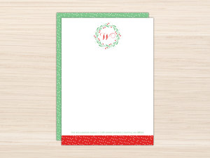 Whimsical Mistletoe Wreath Letter Writing Paper