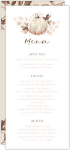 Faux Glitter Autumn Leaves Wedding Menu