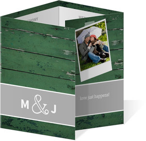 Green Wood Grain Photo  Wedding Progam