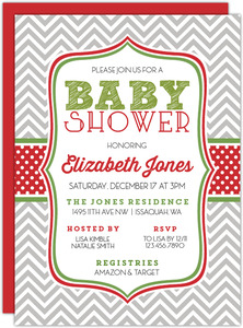 Chevron Polka Dot Christmas Baby Shower Invitation