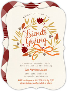 Friendsgiving Harvest Wreath Thanksgiving Invitation