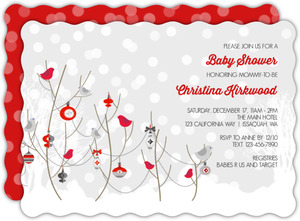 Winter Snow Birds Baby Shower Invitation