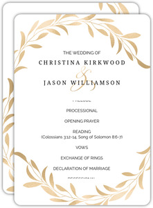 Faux Gold Laurel Wedding Program