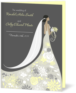 Floral Silhouette  Wedding Program
