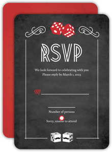 Rustic Las Vegas Chalkboard Gay Wedding Response Card