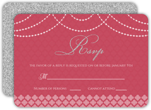 Elegant Pink Royal Pattern Wedding Response Card