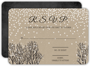 Rustic Krafty Winter Wedding Response Card