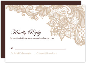 Brown And White Floral Lace  Wedding Response Card