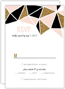 Modern Geometric Glitz Wedding Response Card