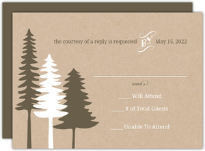 Rustic Pine Trees  Wedding Response Card