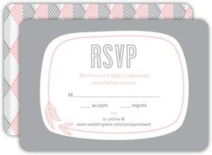 Pink And Gray Geometric Arrows Wedding Response Card