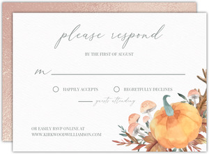 Faux Rose Gold Pumpkin Frame Wedding Response Card