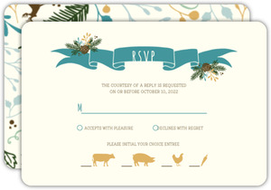 Whimsical Woodland Foliage Wedding Response Card