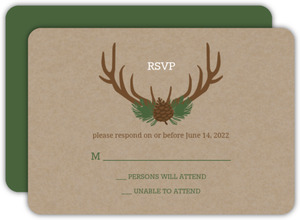 Rustic Deer Antlers Wedding Response Card