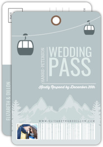 Whimsical Winter Mountains Postcard Wedding Response Card