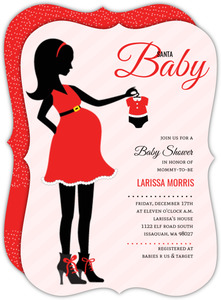 Pregnant silhouette Santa Baby Shower Invitation