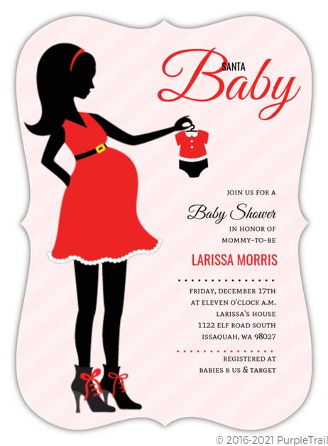 Pregnant silhouette santa baby shower invitation christmas baby pregnant silhouette santa baby shower invitation filmwisefo