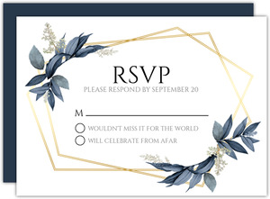 Geometric Frame Navy Leaves Wedding Response Card