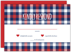 Country Plaid Wedding Response Card