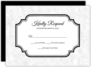 Black and White Lace  Wedding Response Card