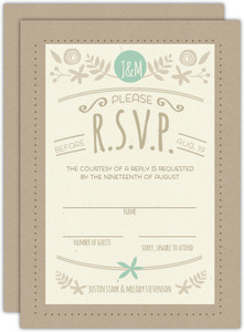 Rustic Mint And Kraft Wedding Response Card
