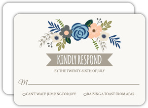 Soft Blue And Taupe Floral Response Card