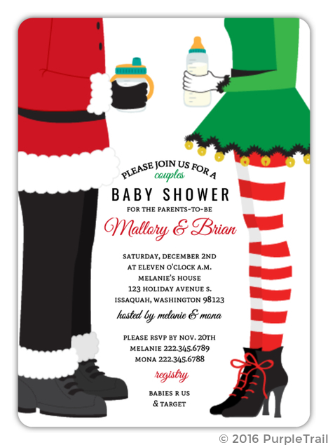 Santa & Elf Couples Baby Shower Invitation