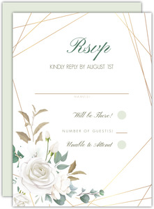 Floral White Garden Wedding Response Card