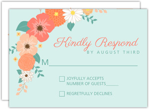 Mint Coral And Peach Country Floral Response Card