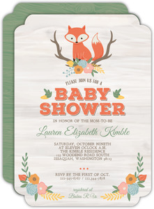 Cute Fox Woodland Baby Shower Invitation