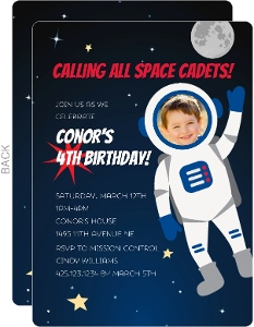 Blue Astronaut Photo Birthday Party Invitation