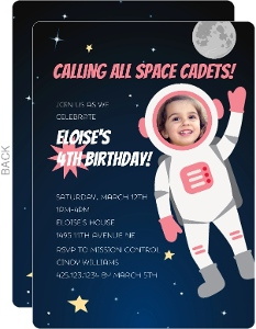 Pink Astronaut Photo Birthday Party Invitation