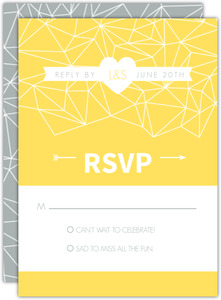 Gray and Yellow Faceted Geometric Pattern Response Card