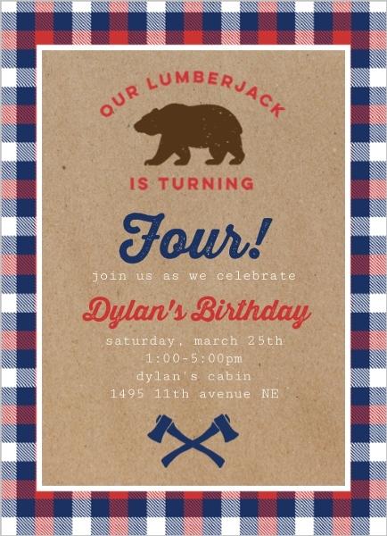 Lumberjack Bear Birthday Party Invitation