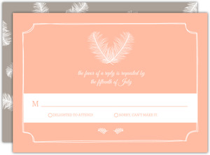 Taupe And Peach Feather Response Card